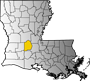 Map showing Evangeline Parish location within the state of Louisiana